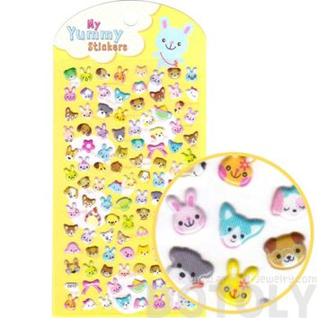 Puppy Dog Bunnies and Bear Face Shaped Spongy Stickers for Scrapbooking