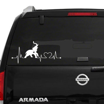 Elephant Heartbeat Car/Computer vinyl decal