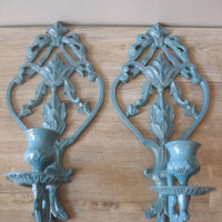 RESERVED for Nancy...........Vintage Paris Apartment Ornate Coastal French cottage  Blue Candle Sconces upcycled