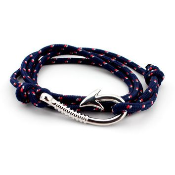 Silver Plated Fish Hook and Rope Men's Bracelet [8 Variations]
