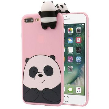 CREYV2S Mikong 3D Cartoon Animals Cute Bare Bears Soft Silicone Case For IPhone 7 Plus 5.5 Inch