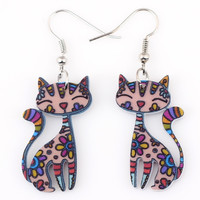 Colorful Cat Hanging Earrings Women Jewelry Love Fashion Style