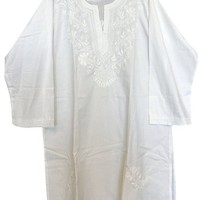 Mogul Interior Womens Tunic Ivory Floral Hand Embroidered Beach Bikini Cover Up Summer Dresses M