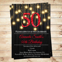 Red and Gold 50th birthday invitations, Red Gold Birthday Party Invitations, Red And Gold Glitter Birthday Party Editable in PDF with Adobe
