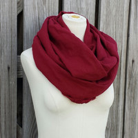 Burgundy Infinity Scarf - Maroon Circle Scarf - Natural Eco Friendly - Wine Loop Scarf