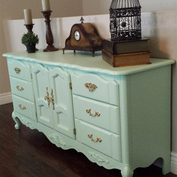 mint green & gold dresser, buffet table, media console, entertainment center.