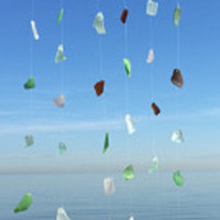 Ready to Ship Genuine SeaGlass Driftwood Beachy Glass Wind chime for home decor gift, as a present for a beach lover, or a House warming