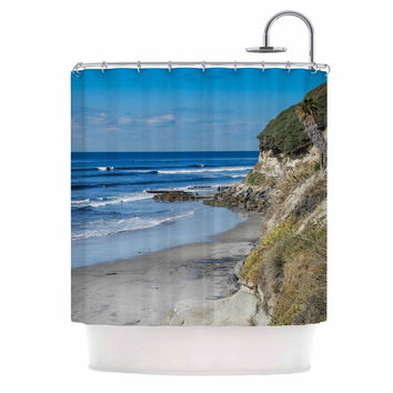 "Nick Nareshni ""Swamis Beach Coast"" Blue Coastal Shower Curtain"
