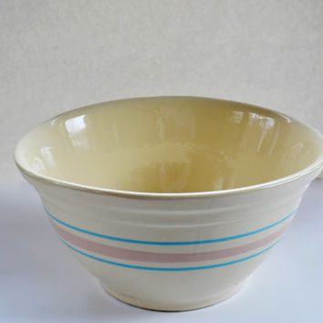 Vintage McCoy No 12 Bowl, Large Blue and Pink Striped Mixing Bowl, Stonecraft McCoy Pottery,  Vintage Stoneware