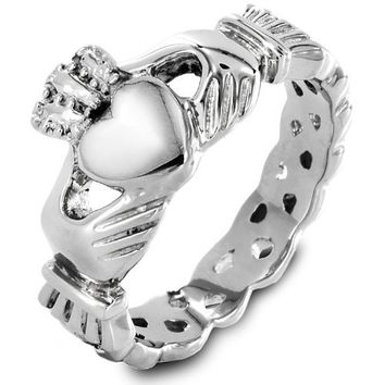 Women's Stainless Steel Claddagh with Celtic Knot Ring (4mm) - Size 7