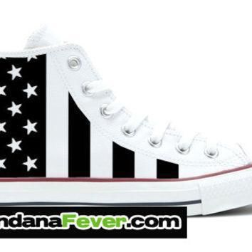 converse hi white black white american flag free shipping by bandana fever