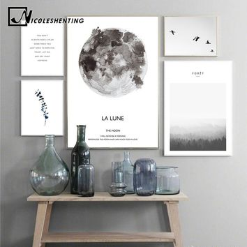 Scandinavian Landscape Moon Lune Canvas Poster Motivational Nordic Style Wall Art Print Painting Decoration Pictures Home Decor