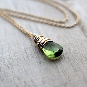 Peridot Necklace In 14K Gold Filled