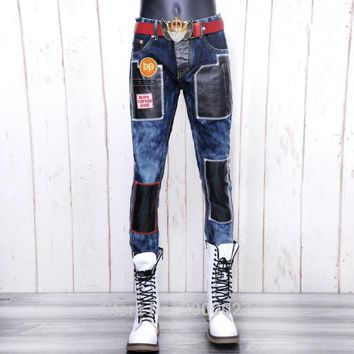 high quality 2017 New Arrival CosMaMa brand mens designer korean fashion slim skinny overall leather denim Punk biker jeans