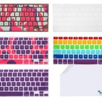 "The Friendly Swede Bundle of 5 Patterned Silicone Keyboard Skins/Covers for Macbook 13"" Unibody / Macbook Pro 13"" 15"" 17"" / Macbook Pro 15 With Retina Display / Mac Wireless Keyboard + XXL Cleaning Cloth in Retail Packaging (Purple Themed)"