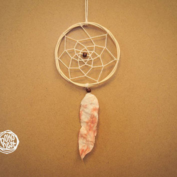 Small Organic Dream Catcher - With Hand Dyed Textile Feather, Natural Wooden Frame and White Web - Home Decor, Nursery Mobile