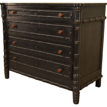 19th-C. French   Faux-Bamboo Chest