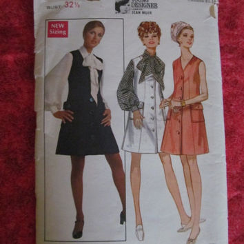 Spring Fever Sale Butterick Sewing Pattern, 5214! Size 10, 32 1/2 Bust, Small, Tunic Style Jumper, Summer and Spring Dress, Casual or Matern