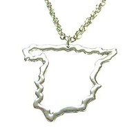 Silver Toned Spain Map Outline Pendant Necklace [Jewelry]