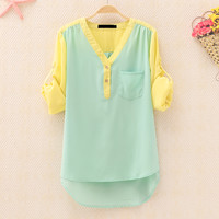 forever2you — Mixed Color Chiffon V Neck Shirt for Women
