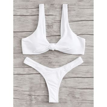 Women's White Ruched Detail Bodice Knot Two Piece Swimsuit Bikini Set