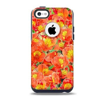 The Red and Yellow Watercolor Flowers Skin for the iPhone 5c OtterBox Commuter Case