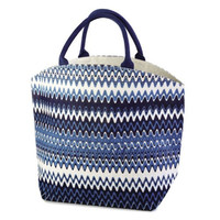 Two's Company Colorful Indigo Patterned Burlap Jute Tote Beach Bag - Eco Friendly (Zig Zag)