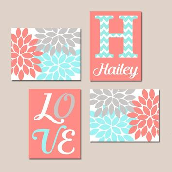 Coral Aqua Gray Nursery Wall Art, Canvas or Prints Baby GIRL Love Flower Burst Girl Bedroom Decor  Girl Monogram Name Set of 4 Crib Decor
