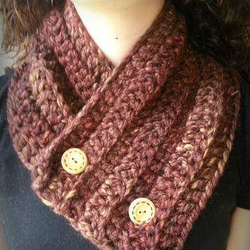 Burgundy Multicolor Crochet Scarf with Tan Buttons