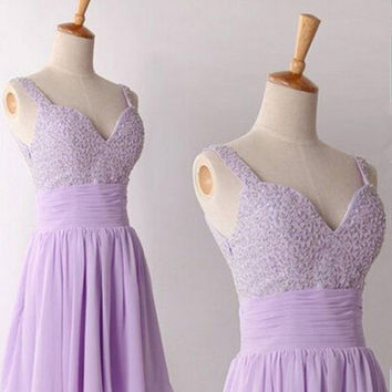 Light Purple Chiffon Beading Homecoming Dress