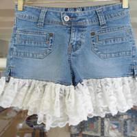 Size 3 Upcycled Lace on Denim Blue Jean Shorts