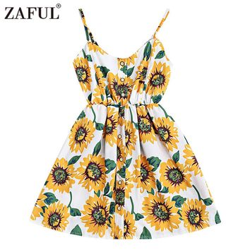 ZAFUL Sunflower Print Summer Short Beach Dress 2017 Women Sexy Spaghetti Strap Cami Dress Casual Boho Party Dress Vestidos