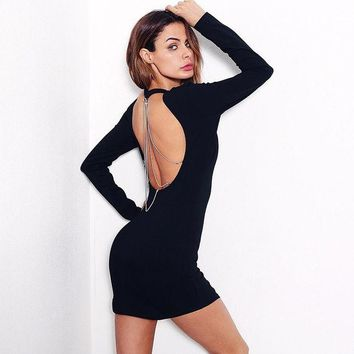 LMFON Solid Color Simple Fashion Backless Hollow Metal Chain Long Sleeve Bodycon Mini Dress