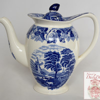Vintage Blue TRANSFERWARE Tall Coffee Pot or Tea Pot Teapot w/ Cattle Cows Peonies
