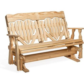 Leisure Lawns Amish Made Yellow Pine High-Back Heart Glider Model #502 - Ships FREE within 2 to 3 Weeks