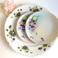 Vintage Mismatched Trio Violets Plates Nippon dessert plates serving plate cake plates porcelain china, Shabby Cottage Chic tea party plates