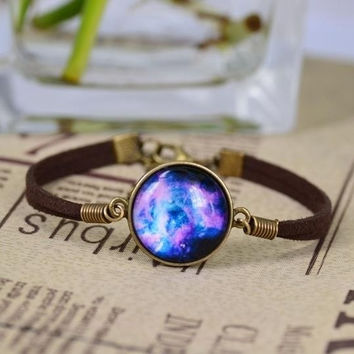 Hot! Best Mix Lovely Color galaxy, nebula, space, Bronze Tone Alloy pendant suede leather Bracelet Bangle Friendship Couple Gift£¬001 = 1929599364