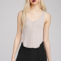 Ribbed Button-Down Tank