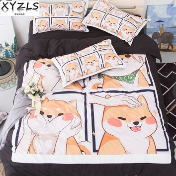 XYZLS Cute Shiba Inu Soft Bedding Set US/AU/UK Queen Duvet Cover Sets Adults/Kids Twin Full King Bedclothes House Pet Bed Lining