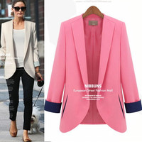 2014 the new Europe and the United States women's double sleeve loose big yards leisure small suit jacket