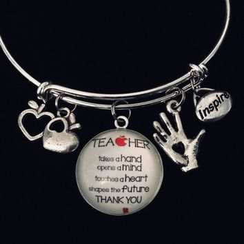 Thank you Teacher Jewelry Inspire A Teacher Shapes the Future Adjustable Bracelet Expandable Silver Charm Bangle Gift Trendy School One Size Fits All Gift Takes A Hand Opens a Mind Touches a Heart