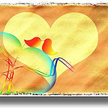 Bird Love Sign Picture on Stretched Canvas, Wall Art Decor, Ready to Hang!
