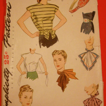 1940s Front Tied Blouse Sewing Pattern Uncut Simplicity 1412 Scarf & Belt WWII Era