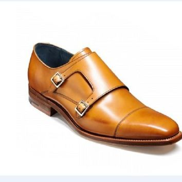Wakeby Wolf Formal Tan Double Monk Straps Leather Shoes