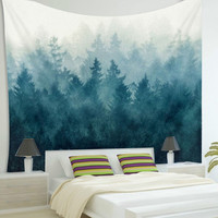 Blue Forest Wall Hanging Tapestry Mandala Throw Rug Bedspread Gypsy Twin  Home Bedroom Decoration Picnic Cloth Blanket Yoga Mat