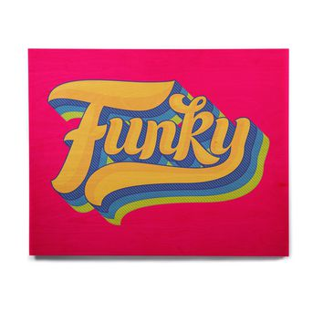 "Roberlan ""Funky"" Pink Orange Birchwood Wall Art"