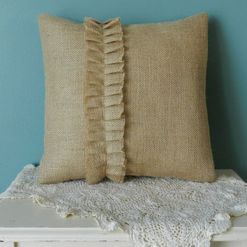 Burlap Throw Pillow with Ruffle - Decorative burlap pillow, burlap accent pillow, decorative pillow, throw pillow