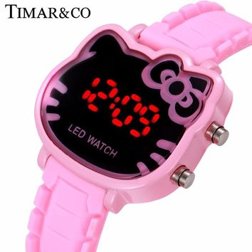 Hello Kitty Watch Women Led Digital Cartoon Wrist Watches Children Girls Casual Women's Clock Relojes Mujer Relojer Feminino