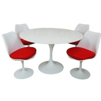 Lily Fiberglass Dining set 36 Inch   Red