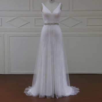 Romantic A Line Wedding Dress Sleeveless Appliques Sweep Train Gowns